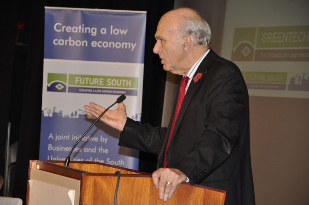 Former Business Secretary Sir Vince Cable addresses the Future South conference at Winchester Guildhall