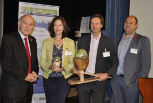 Sandra Sassow of SEaB receives the David Green Award for sustainable business. With her are, from left, Sir Vince Cable and Future South board members Andy Stanford-Clark and Dr David Hutchinson.